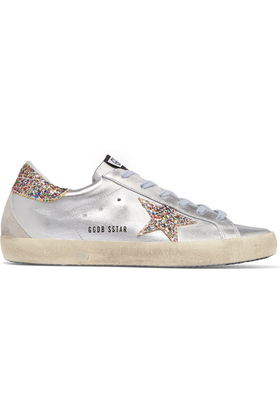 GOLDEN GOOSE DELUXE BRAND metallic sneakers leather silver shoes