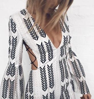 dress white black romper long sleeve romper bell sleeves pattern romper jumpsuit
