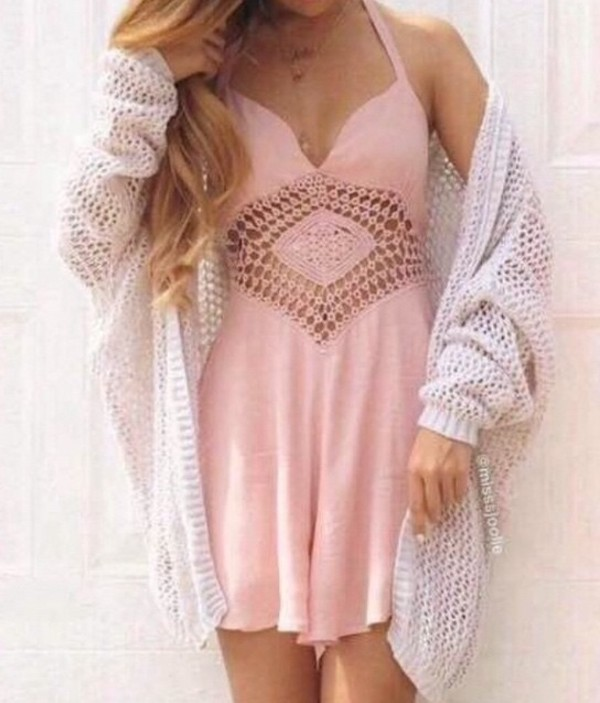 pink dress pattern light pink summer dress pink romper crochet summer outfits spring outfits girly feminine fashion style dress sweater