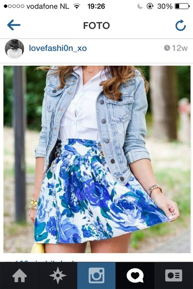 skirt white skirt flower skater skirt blue skirt