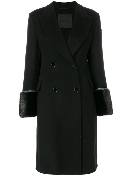 Ermanno Scervino double breasted fur women black wool jewels