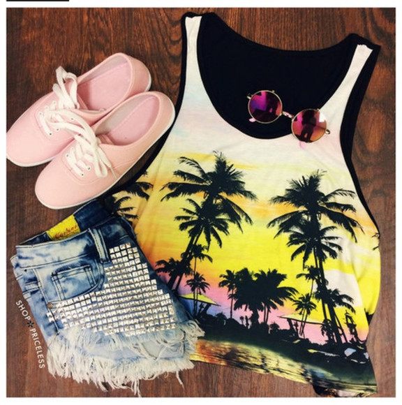 yellow shoes tank top palm tree print sunglasses studded shorts