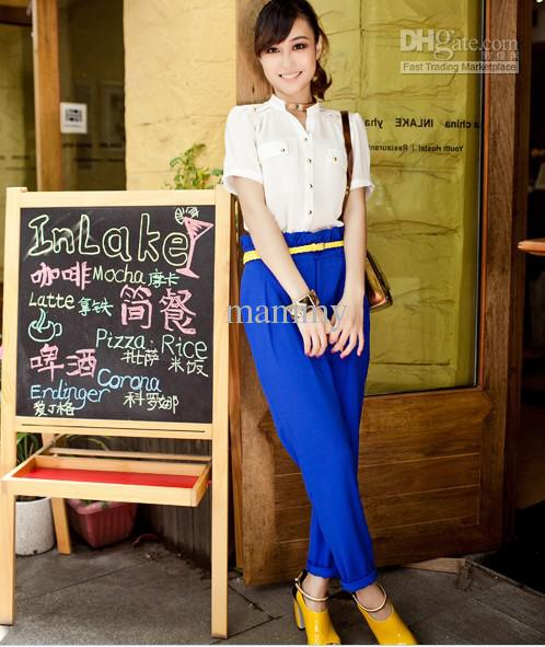 Wholesale women harlan loose pants fashion navy blue high waist leisure pants tide, free shipping, $32.7~41.3/piece