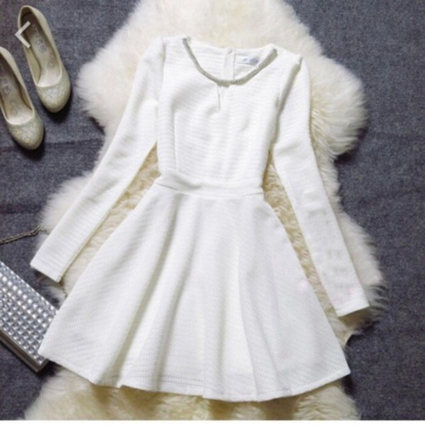 dress white girly cute white dress white long sleeve dress
