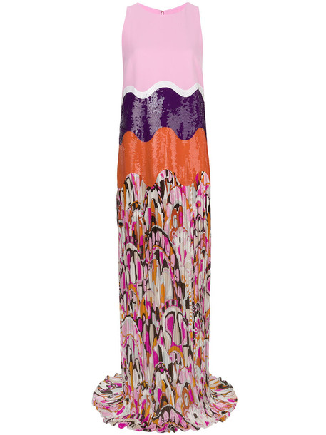 Emilio Pucci gown pleated women spandex silk purple pink dress