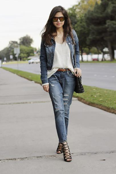 fake leather jacket sweater jeans belt bag shoes sunglasses jewels