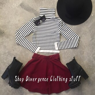 shirt divergence clothing striped crop top crop tops burgundy skirt skater skirt burgandy skater skirt floppy hat black floppy hat black and white tight shirt striped shirt 28719