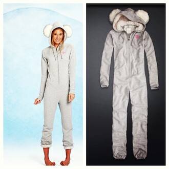 pants gilly hicks onesie pajamas koala animal fluffy winter outfits grey