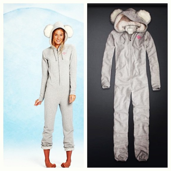 pjs pajamas pants gilly hicks onesie koala animal furry winter grey
