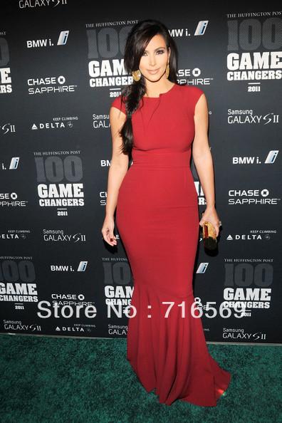 Frete grátis Kim Kardashian mangas celebridade vestido de noite vermelho 2012 vestido de grife para venda em Vestidos Inspirados em Celebridades de Roupas & acessórios no AliExpress.com | Alibaba Group