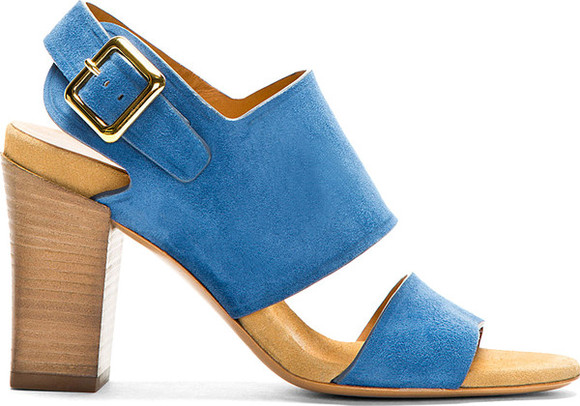 shoes chloé chloé blue suede heeled sandals blue suede heeled sandals