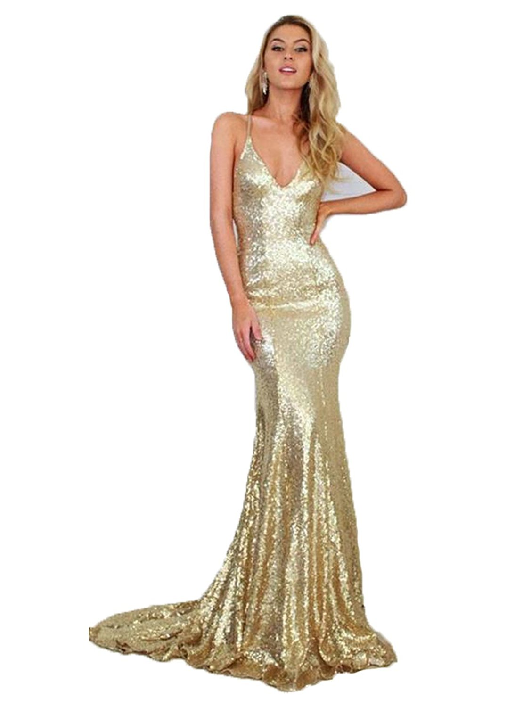 Amazon.com: DYS Women's Gold Mermaid Prom Dress Spaghetti ... - photo #20