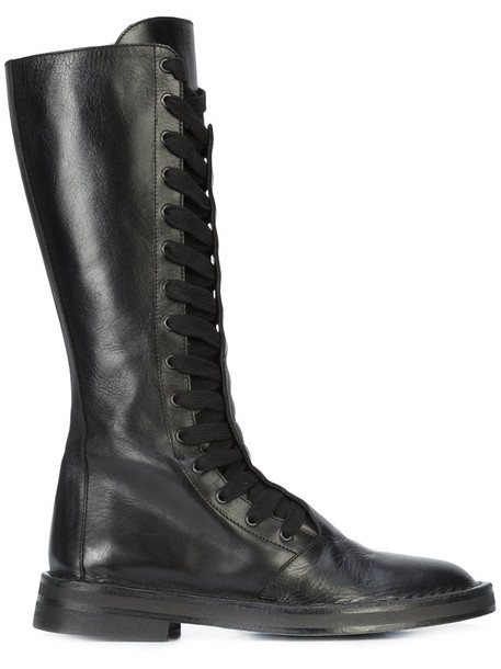 ANN DEMEULEMEESTER women lace leather black shoes