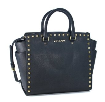 Amazon.com: Michael Kors Large Selma Studded Saffiano Tote BLACK: Clothing