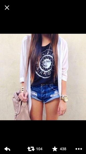 bag cardigan shirt shorts watch gold blouse jewels