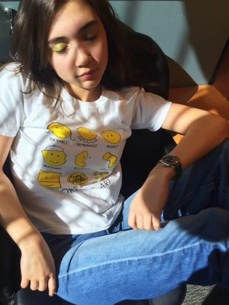 yellow printed t-shirt shirt white art artists smiley painters rowan blanchard white t-shirt