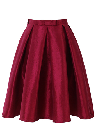 skirt bow pleated a-line red