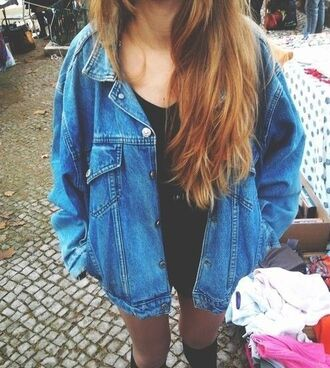 jacket denim jacket blue jacket oversized jacket