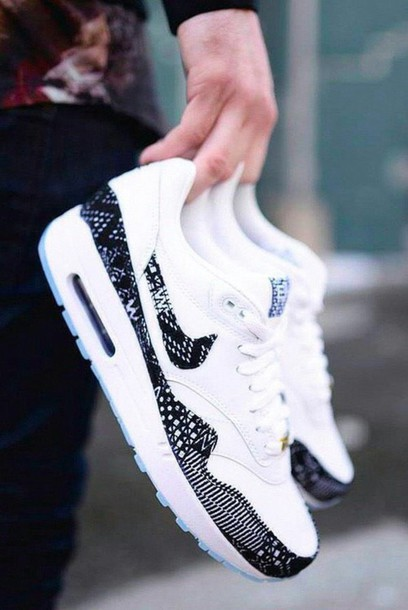 shoes nike air max nike air max 1 sneakers white blue aztek