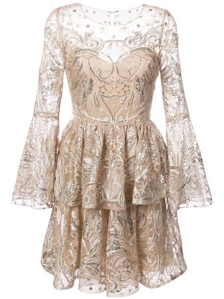 Marchesa Notte dress tulle dress embroidered women nude