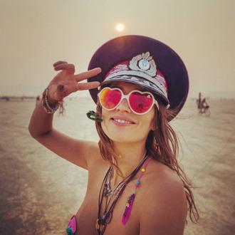 hat burning man burning man costume sunglasses white sunglasses heart sunglasses necklace bracelets music festival festival