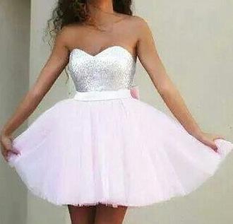 dress prom dresses /graduation dress .party dress sparkles white dress pink bow dress