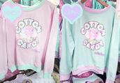 sweater,pastel,kawaii,long sleeves,cotton candy,pink,blue,food,pastel pink,pastel blue,japanese,japanese fashion,lovely,cute,grunge,pastel grunge,pastel goth