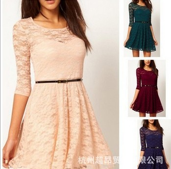 Hot European and American big swing AS Women's candy color full lace stitching round neck dress sheds   Amazing Shoes UK