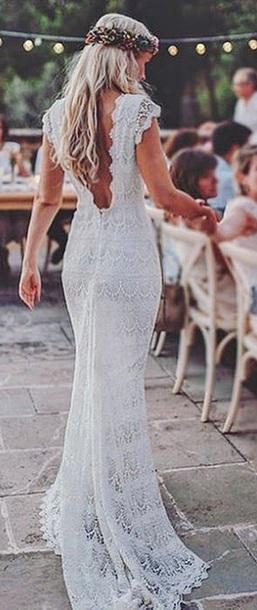 dress white lace wedding long backless