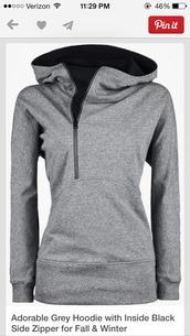 sweater,zip-up,grey hoodie,black