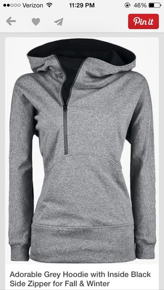 zip-up grey hoodie black sweater