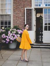 dress,tumblr,yellow,yellow dress,mini dress,long sleeves,long sleeve dress,shoes,gingham,flats,bag,basket bag,sunglasses