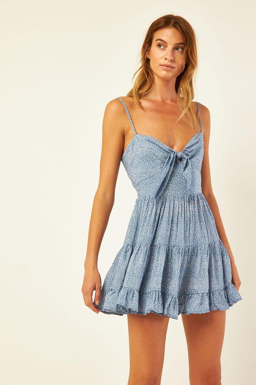 Luck & Trouble Floaty Tie Dress Blue Print