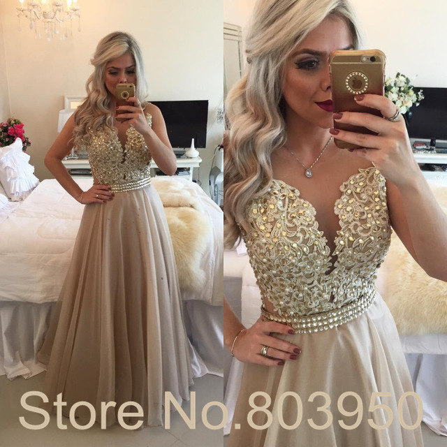 Aliexpresscom Buy Champagne Prom Dresses Sexy See Though Back