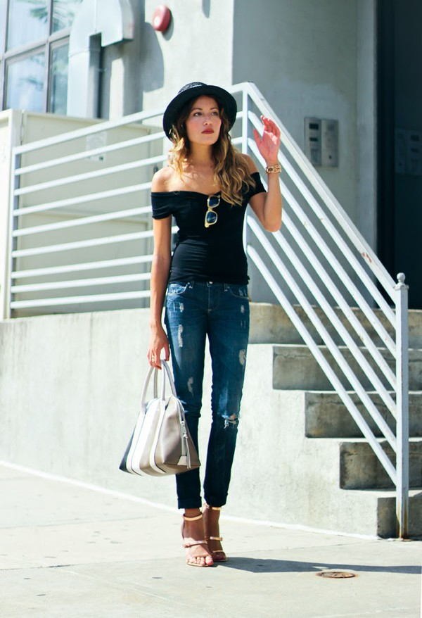 the marcy stop top jeans jewels sunglasses bag shoes black shirt off the shoulder casual hat