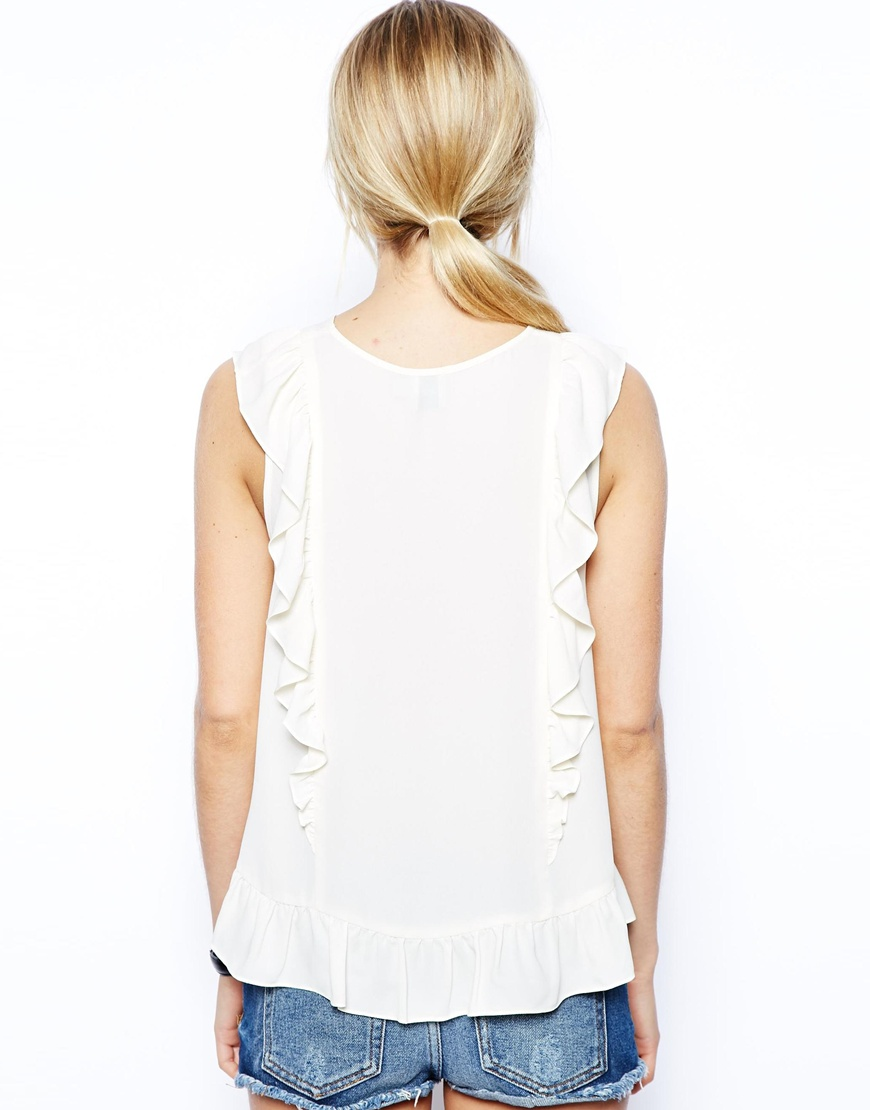 ASOS Sleeveless Ruffle Peplum Top at asos.com