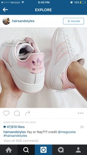 shoes,adidas shoes,adidas,adidas superstars,pink adidas,holographic,white,pink,gorgeous,pretty,girly,girly wishlist,girl,sneakers,white sneakers,pastel pink superstars,low top sneakers