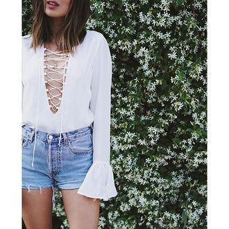 top long sleeves white song of style lace up top lace up v neck plunge v neck sexy top top blogger lifestyle blogger revolve clothing