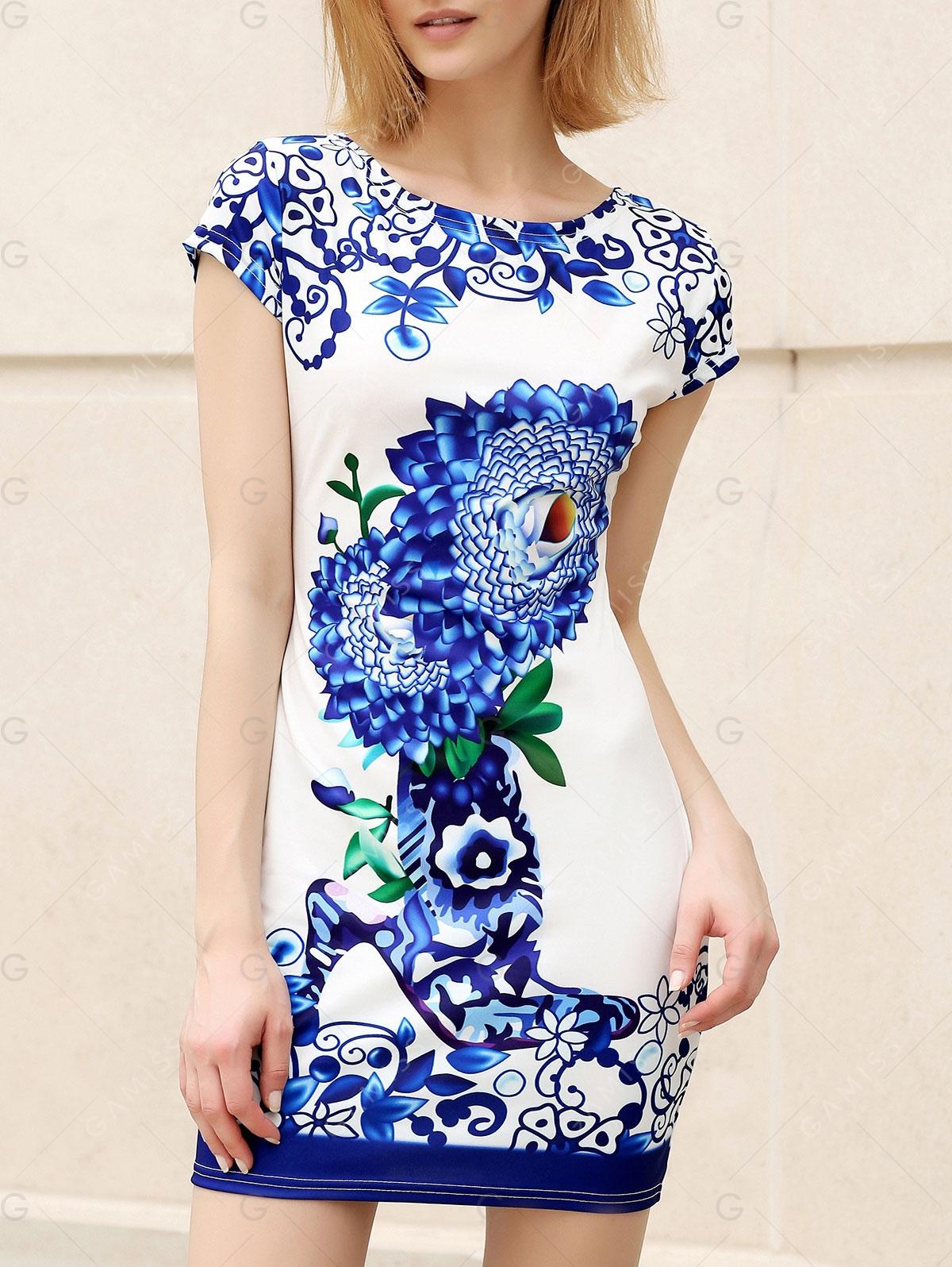 Trendy Round Collar Short Sleeve Floral Print Skinny Women's Dress
