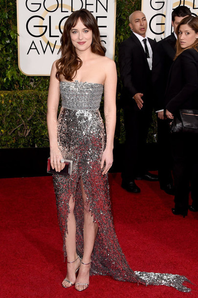 dress dakota johnson silver sequin dress Golden Globes 2015