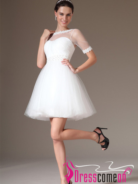 Dress tulle short wedding dress sleeves white wedding for Short white summer wedding dresses