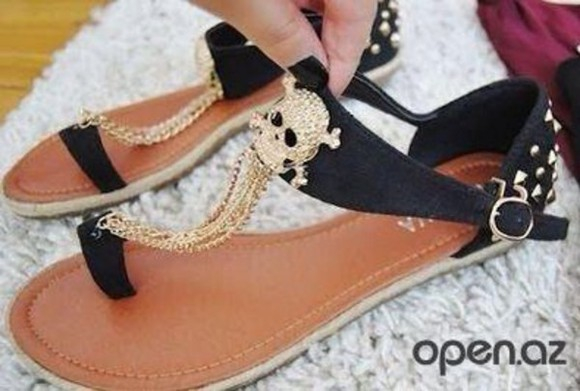 skull shoes black sandals chain