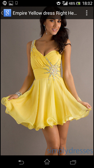 dress short yellow simplydresses prom babydoll dress party dress yellow dress beaded dress
