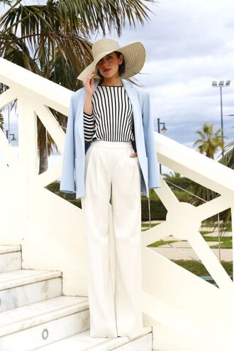 white pants high waisted pants striped top blazer hat white hat preppy fashionist preppy spring outfits
