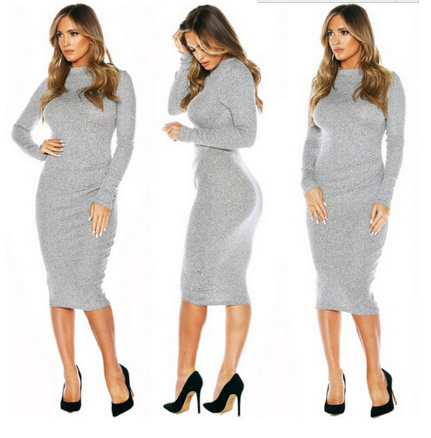 Fashion show body hot grey dress