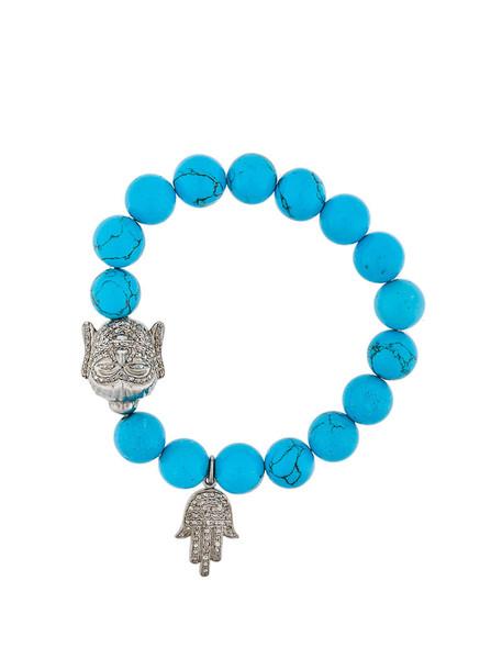 Gemco women beaded charm bracelet silver blue turquoise jewels