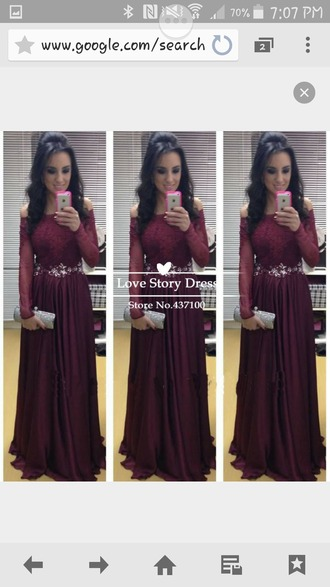 dress long maroon/burgundy off the shoulder sequins