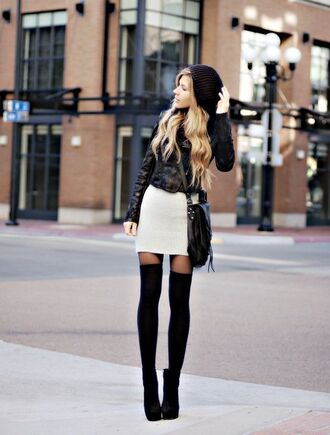 socks black beanie black leather jacket white skirt black boots blogger over knee socks