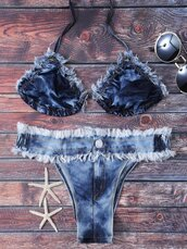 swimwear,bikini,fashion,blue,denim,summer,beach,trendy,acid wash,zaful
