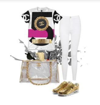 shoes air max perfect combination nike chanel white gold nike air max 90 clubwear jeans purse shirt t-shirt blouse bag top